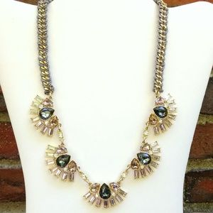 Gray, pink and clear crystal necklace